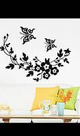 Наклейка на стену виниловая бабочки и ветви винограда.
