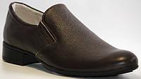Туфли кожаные для мальчика коричневые на каблуке с супинатором классические с острым носком