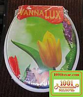 """Сиденье мягкое с крышкой для унитаза Vanna Lux """"Тюльпаны"""""""