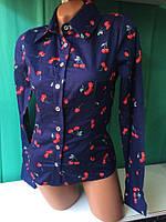 Рубашка женская котоновая с принтом Вишенка (К9658)