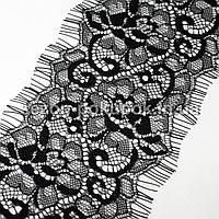 (3 метра)Французское кружево (Шантильи, с ресничками) ширина 9,5см  (цена за 3 м). Цвет - черный, фото 1