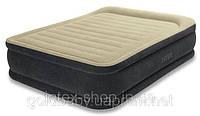 Надувная велюр кровать 64408 Intex (двухместная) со встроенным насосом