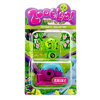 Фигурка Зублс Petagonia Collection Fairy 3,5 см, домик Happitat (зеленый). Zoobles Spring to Life.