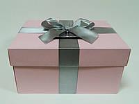 Коробка для денег розовая с бантом