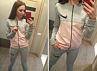 Молодежный женский спортивный костюм trendy nike на змейке.Серый.Купить недорого в интернет магазине.