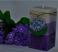 Ароматизированная Свеча Фиалка квадрат 70х140 мм
