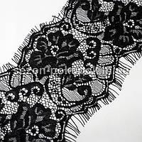 (3 метра)Французское кружево (Шантильи, с ресничками) ширина 12,5см (цена за 3 м). Цвет - черный, фото 1