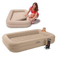 Intex 66810 Велюр кровать детская с бортиками + ручной насос (168х107х25см), фото 1