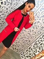 Стильный женский кардиган в двух цветах украшенный бусинами. Размер универсальный 42-46. Цвет:красный, розовый
