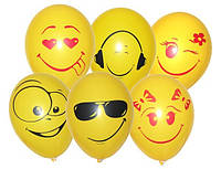 Воздушные Гелевые Шарики Заказать с Доставкой Киев «Разные улыбочки»,надуты гелием,5 видов,35 см.