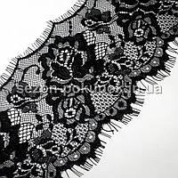 (3 метра)Французское кружево (Шантильи, с ресничками) ширина 12см (цена за 3 м). Цвет - черный, фото 1