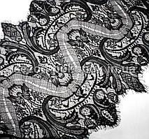 (3 метра)Французское кружево (Шантильи, с ресничками) ширина 34см (цена за 3 м). Цвет - черный