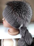 Меховая шапка из норки и чернобурки кофейного цвета на вязанной основе