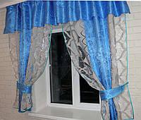 Кухонная занавесь, шторки гардина с подвязками е209