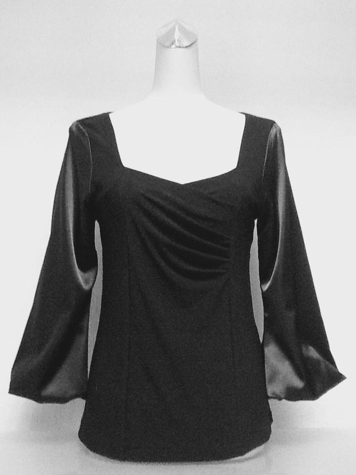 Блуза Eveline нарядная черная с рукавом атлас размер+