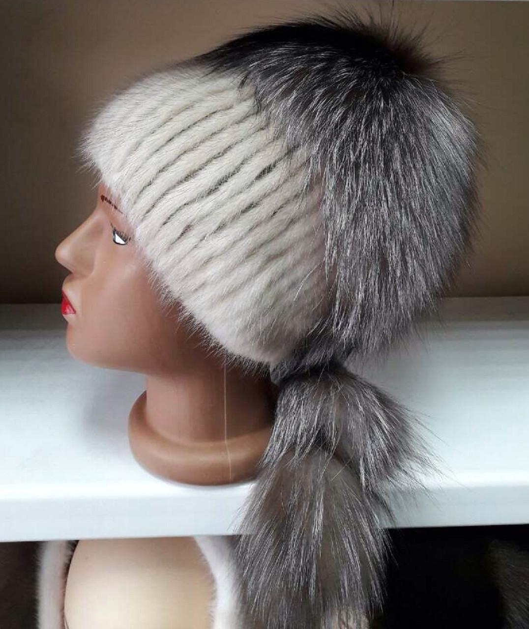 меховая шапка из норки и чернобурки на вязанной основе цвет бежевый