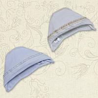 Чепчик для девочки Ажур Кружево-лён Интерлок Цвет белый, молочный Размер 56-74 Бетис