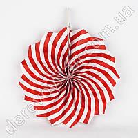 Подвесной веер, красно-белый, 30 см - бумажный декор-розетка