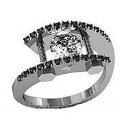 Кольцо серебряное Бриллиант с Болтами