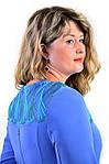 Платье нарядное сиреневое с кружевом приталенное Пл 161,р 48,5,54., фото 2