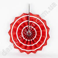 Подвесной веер, красный в белую полоску, 40 см - бумажный декор-розетка