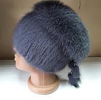 Меховая шапка из норки и песца серого цвета на вязанной основе