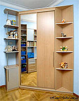 Прекрасное угловое решение в детскую комнату. Сочетание вместительности и дизайна.