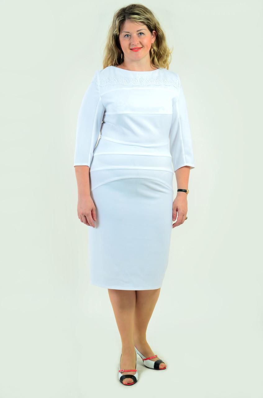 Біле плаття з мереживом ошатне за коліно Пл 161-2 , стрейч.