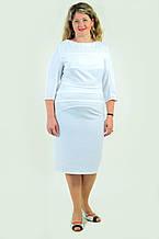 Белое платье с кружевами нарядное за колено Пл 161-2 , стрейч.