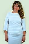 Біле плаття з мереживом ошатне за коліно Пл 161-2 , стрейч., фото 3
