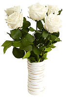 Florich Букет долгосвежих роз Белый бриллиант (7 карат на коротком стебле) Florich