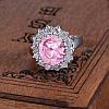 Женское кольцо с белой позолотой 18К и розовым фианитом, 18 размер, фото 2