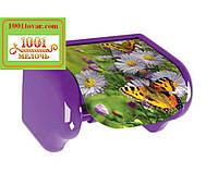 Пластиковый держатель для туалетной бумаги с рисунком Цветы и бабочки, Elif Plastik
