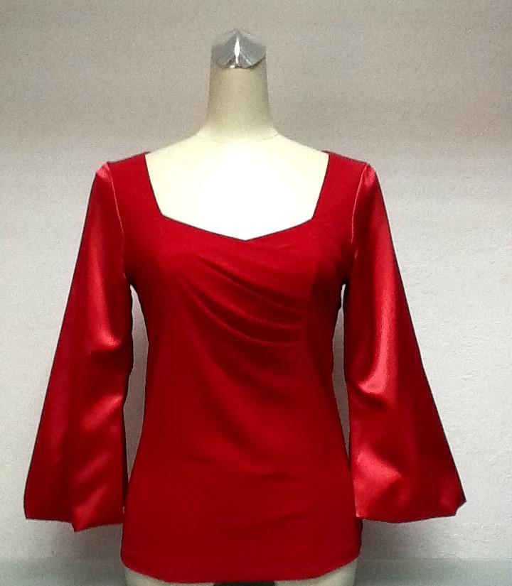 Блуза Eveline женская нарядная красная с рукавом 3/4 размер+
