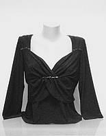 Блуза Eveline женская нарядная черная с рукавом 3/4 размер+, фото 1