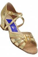 Туфли для танцев  золотистые детские на блок-каблуке17.0(27р),18,5(29р).Обувь с регуляторами полноты
