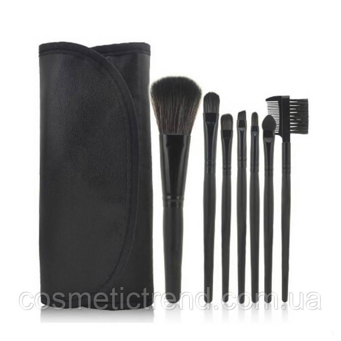Набор профессиональных кистей для макияжа (7 предметов+чехол) Makeup Tool Brush Set black