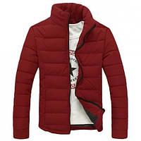Зимняя мужская дутая куртка на синтепоне, без капюшона