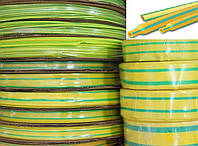 Термоусадочная трубка 10/5 мм желто-зеленая (100м/ бухта)
