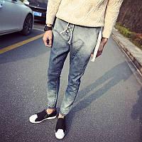 Молодежные джинсовые штаны унисекс (стрейч-коттон)