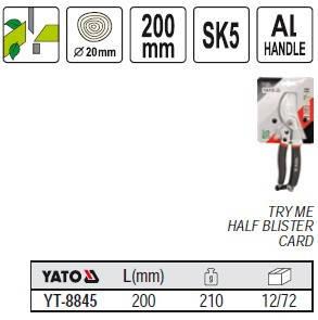 Секатор с алюминиевыми ручками 200мм YATO YT-8845, фото 2
