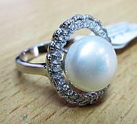 """Серебряный перстень с жемчугом """"Овал"""", размер 17 от студии  LadyStyle.Biz"""