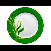 308 Тарілка дес 7,5' Бамбук/зелений ободок (48)