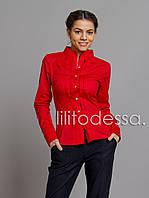 Рубашка с гипюровой кокеткой красный