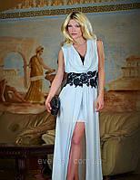 Платье белое в пол с кружевом