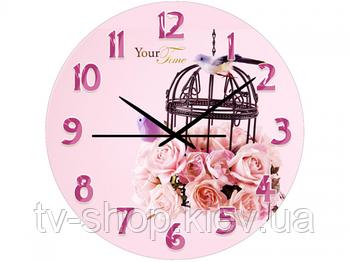 Часы настен. Розовая нежность (стекло)