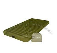 Туристический односпальный надувной матрас Intex 68727 Super-Tough Airbed + встроенный аккумуляторный насос***