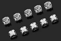 Сразы пришивные 50 шт 3 мм в металлической оправе цв. серебро