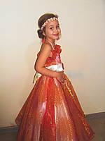 """Шикарное  платье """" Дуэт цветы"""" цвет горячее золото на праздник,  выпускной прокат Киев"""