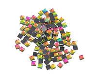 Стразы клеевые радужные квадрат 4 мм 25 шт